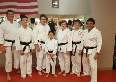karate class in uniforms