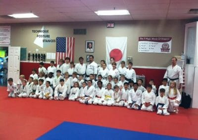 karate class in uniform