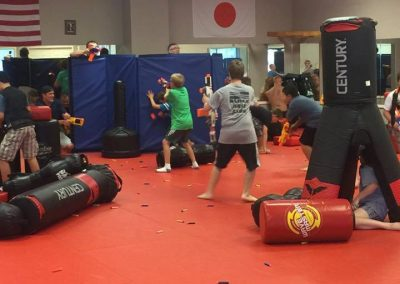 kids practicing in the dojo
