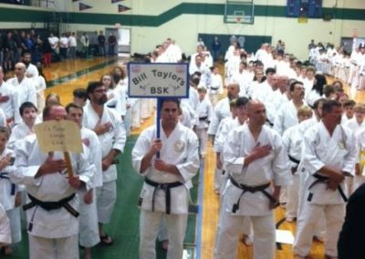 karate tournament kids lined up in uniform