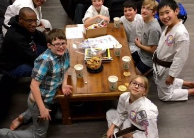 karate class enjoying some snacks
