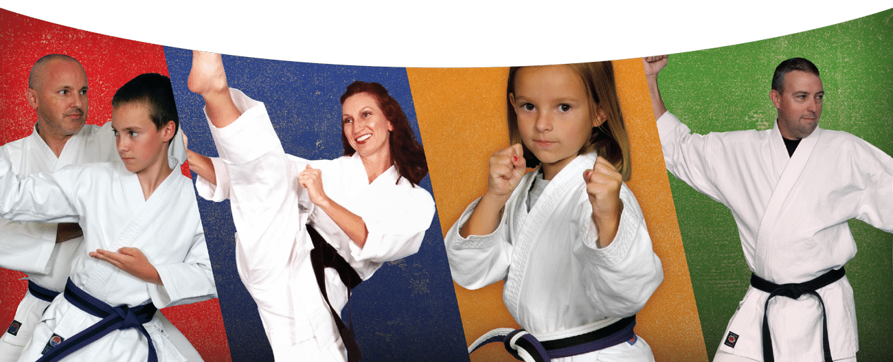 bill taylor's bushido school of karate - multicolored background of kids and adults in karate uniforms and poses